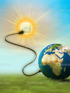 Our planet's energy comes from the sun. Digital illustration.